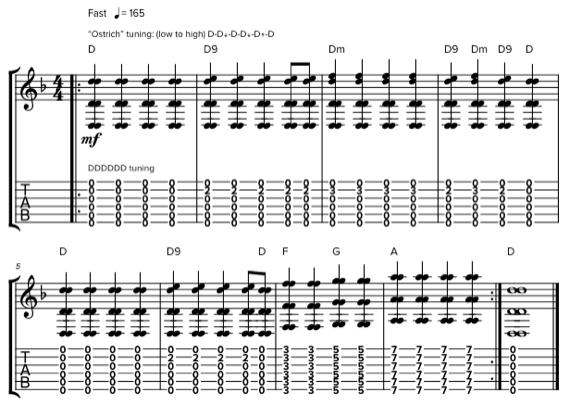 «Страусиный» строй гитары