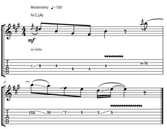 Примеры использования слайда на гитаре