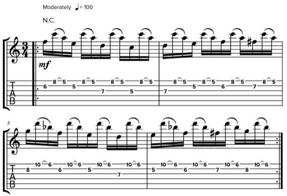 шестнадцатые ноты на гитаре в размере 3/4