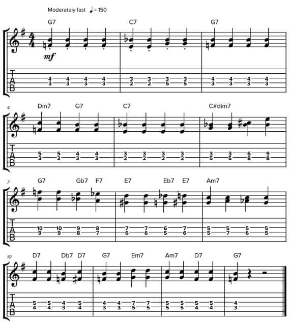 Блюзовые аккорды для анранжировки