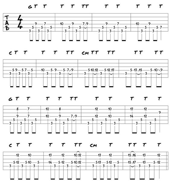 Как играть на гитаре одновременно аккорды и тэппинг