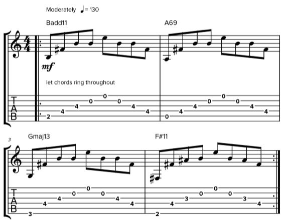 Арпеджио аккордов с открытыми струнами