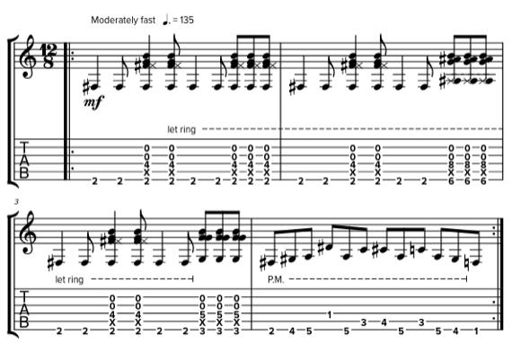 Рифф в стиле Opeth табы и ноты