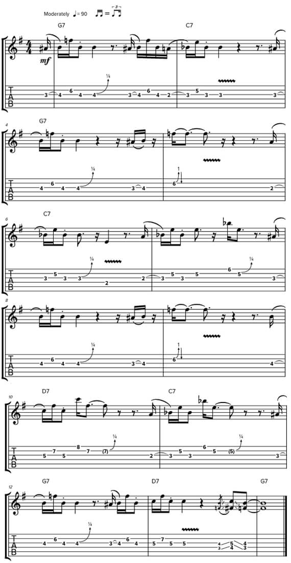 Простое блюзовое соло на фоне блюзовой гаммы