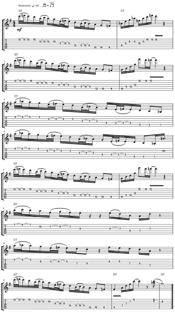 Сложные блюзовые соло и мелодии для гитары