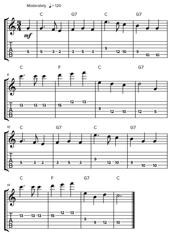 Прыжки по октавам гитары
