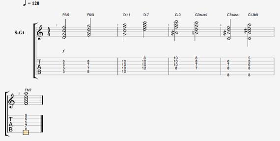 Красивая прогрессия джазовых аккордов
