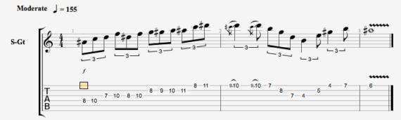 Джазовое упражнение для гитары