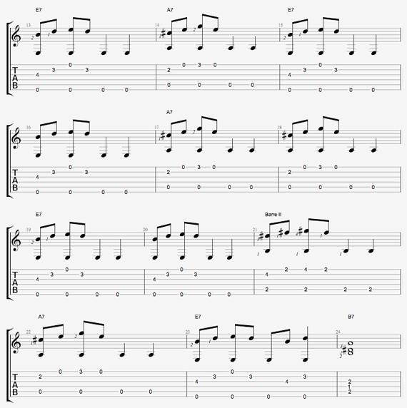 Блюзовые ноты фингерстайла